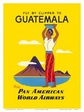 Fly by Clipper to Guatemala - Native Indian Woman  Pacaya Volcano - via Pan American World Airways