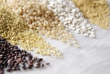 Grain Still Life: Brown Rice  Millet  Rice  Pearl Barley  Amaranth