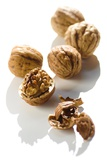 Five Walnuts, Opened and Unopened, on White Background Papier Photo par Kröger And Gross