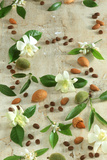 Orange and Almond Blossom  Coffee Beans and Almonds