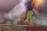Molten Magma Flows from an Erupting Volcano