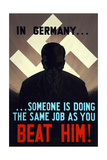 Vintage World Ware II Poster Featuring a Man Standing in a Shadow with Swastika in Back