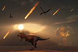 Tyrannosaurus Rex Tries to Escape a Giant Asteroid Impact