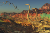 A Flock of Pterosaurs Fly Past Two Omeisaurus Dinosaurs
