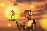 Concept Illustrating Mankind Becoming a Slave to Robotic Technology