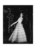 Model Wearing Tiered Tulle Gown Ringed with Black Grosgrain by Balmain
