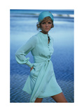 Model Cheryl Tiegs on Beach Wearing Light Green Acetate and Rayon Dress by Stan Herman for Mr Mort