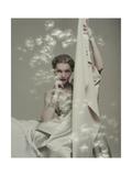 Model Seated in Silk Taffeta Dress  Holding Yards of Silk  by Ducharne and C M Gourdon