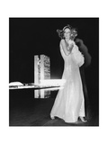 Model Cheryl Tiegs  Standing before the Towers of Congress