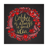 Coffee - Red and Gold on Black