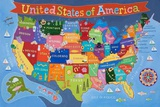 Kid's USA Laminated Map