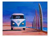 Blue White VW Surf Bus T1 Kombie Bulli At Surf Board Road