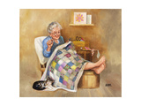 Elderly Woman Quilting