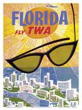 Florida - Fly TWA (Trans World Airlines) Reproduction d'art par David Klein