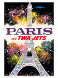 Paris, France - Fly TWA Jets - Trans World Airlines - Fireworks at Eiffel Tower Reproduction d'art par David Klein