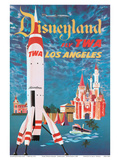 Disneyland - Los Angeles - Fly TWA (Trans World Airlines) - Tomorrowland TWA Moonliner Reproduction d'art par David Klein