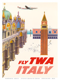 Italy - Fly TWA (Trans World Airlines) - Piazza San Marco (St Mark Plaza)