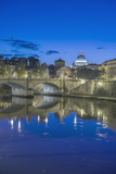 Italy  Rome  Tiber River and Ponte Vittorio Emanuele at Twilight