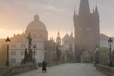 Charles Bridge at Dawn  Prague  Czech Republic