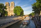 Parisians Along River Seine  Below Cathedral Notre Dame  Paris  France