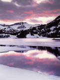 California  Sierra Nevada  Sunset  Mountains Reflecting on Ellery Lake