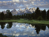 Wyoming, Grand Teton NP, the Grand Tetons and Clouds Papier Photo par Christopher Talbot Frank