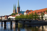 Old Town and River Trave at Lubeck  Schleswig-Holstein  Germany