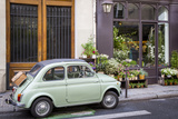 Fiat on the Sidewalk at the Florist Shop  les Marais  Paris  France