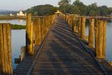 U Bein Teak Bridge with Citadel Pagoda  Amarapura  Mandalay  Myanmar