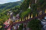 Pagodas and Stairs Leading to Pindaya Cave  Shan State  Myanmar