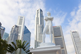 Statue of Sir Stamford Raffles and Skyline  Singapore  Southeast Asia