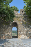 Portugal  Obidos  View of Farm Through Battlement Opening in Courtyard