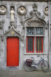 Red Door into the Historic Basilica of the Holy Blood  Bruges  Belgium