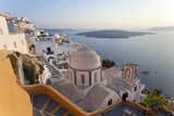 Church and Fira Town at Sunset  Fira  Santorini  Cyclades  Greece