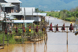 Monks Walking on the Bridge  Inle Lake  Shan State  Myanmar