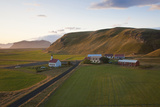 Church and Small Group of Houses Near Vik  Iceland