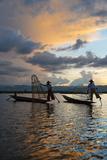 Intha Fisherman Rowing at Sunset on Inle Lake  Shan State  Myanmar