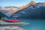 Canada  Banff NP  Lake Louise  Canoes at Boathouse Dock  Mt Victoria