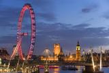 Parliament  London Eye and Jubilee Bridge on River Thames  London  UK