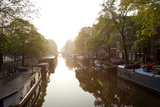 Canal  Sunrise  Amsterdam  the Netherlands  North Holland