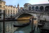 Gondola and Rialto Bridge Evening Light  Venice  Italy