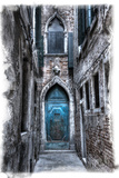 Venice  Italy Carnival  Colorful Old Blue Doorway in Narrow Alley