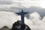 Art Deco Statue of Jesus  Corcovado Mountain  Rio de Janeiro  Brazil