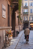 Bicycle with Flowers and Shopping Bags   Parma  Emilia Romagna  Italy