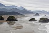 USA  Oregon  Cannon Beach Fog Rises over Coastline at Low Tide