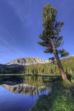 California  Sierra Nevada Mountains Calm Reflections in Grass Lake