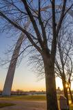 The Gateway Arch in St Louis  Missouri at Sunrise Jefferson Memorial