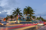 Dusk Light on Ocean Drive in South Beach in Miami Beach  Florida  USA