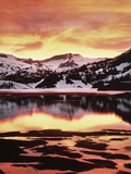 California  Sierra Nevada  Sunset  Mountains Reflecting on Ellery Lake