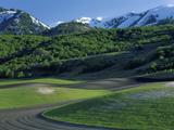 Utah USA Fields in Spring Below Wellsville Mountains Cache Valley